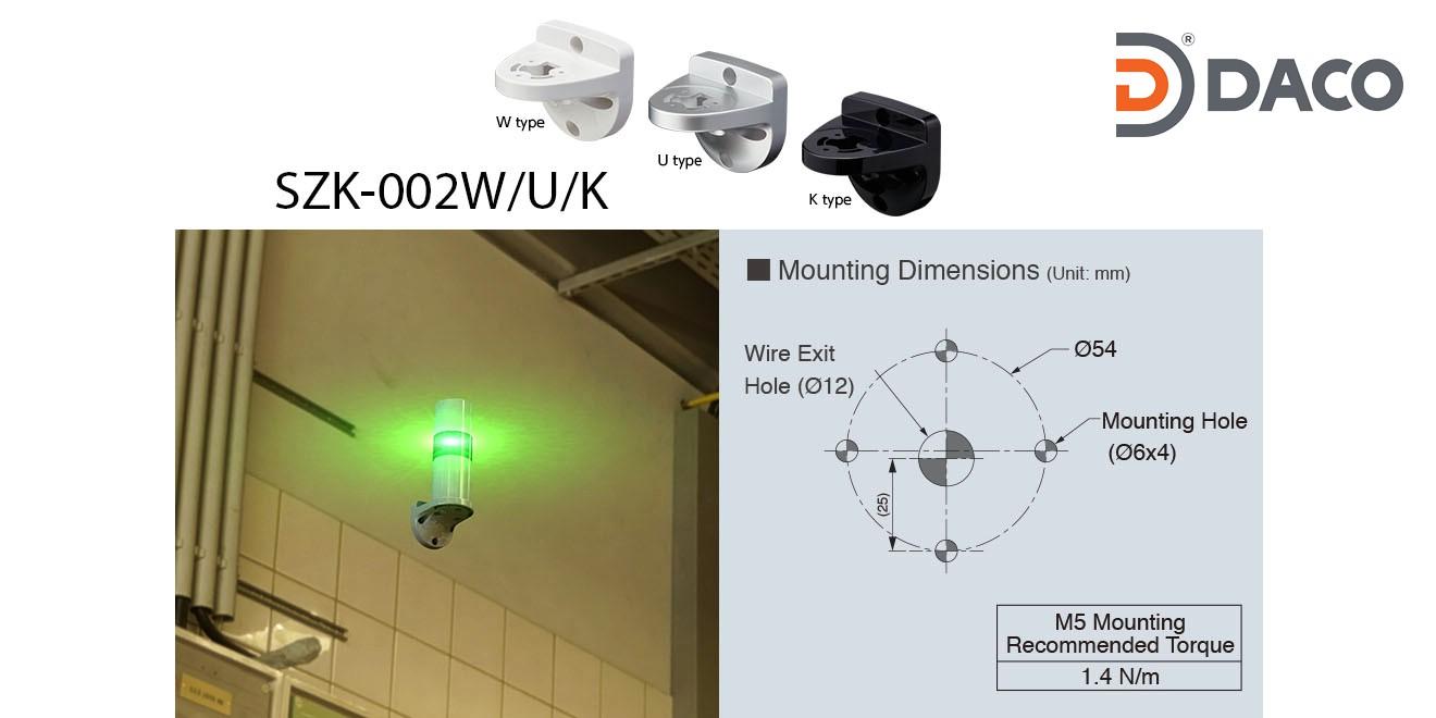 SZK-003W Chân gá đèn tháp Patlite dòng LR6, LR7 Gá gắn tường Φ22, Nhựa PC