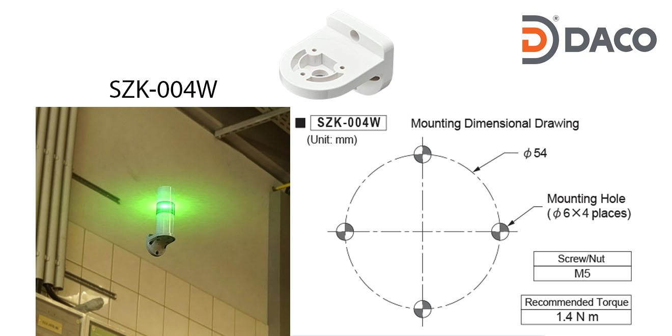 SZK-004W Chân gá đèn tháp Patlite dòng LR6, LR7 Gá gắn tường Φ22, Nhựa PC