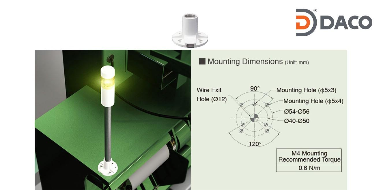 SZP-001W Chân gá đèn tháp Patlite dòng LR4, LR5, LR6, LR7 Bát gắn trụ tròn Φ22, Nhựa PC