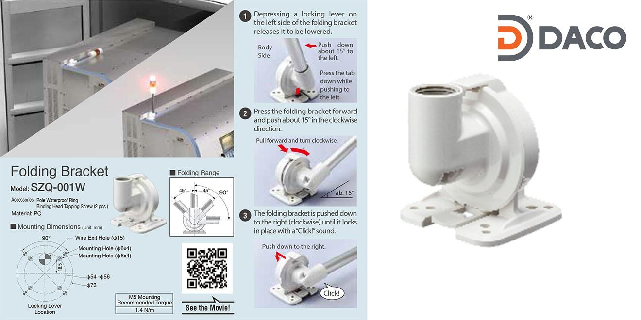 SZQ-001W Chân gá đèn tháp Patlite dòng LR4, LR5, LR6, LR7 Bát gắn trụ tròn xoay Φ22, Nhựa PC