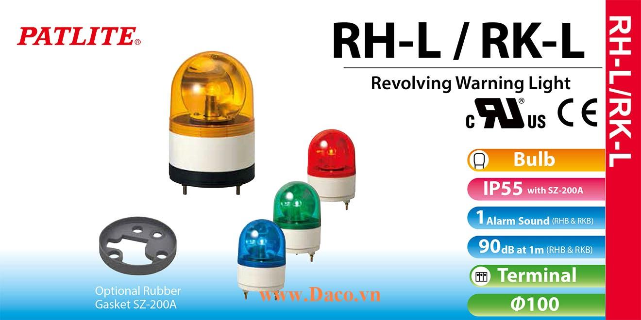 RH-48L-B Đèn quay Patlite Φ100 Bóng Sợi đốt IP23