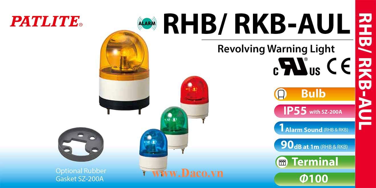 RHB-48AUL-B Đèn xoay có còi Patlite Φ100 Bóng Sợi đốt Buzzer 90dB IP23
