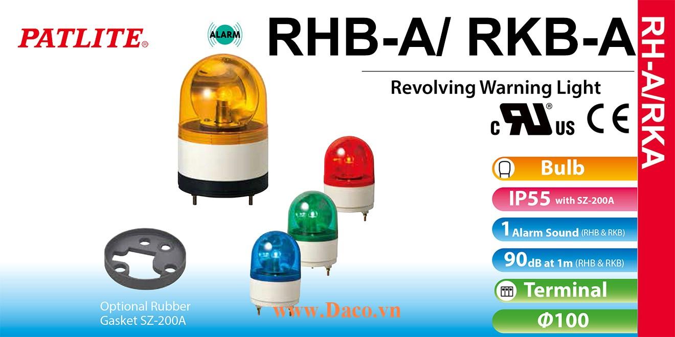 RHB-48A-B Đèn xoay có còi Patlite Φ100 Bóng Sợi đốt Buzzer 90dB IP23