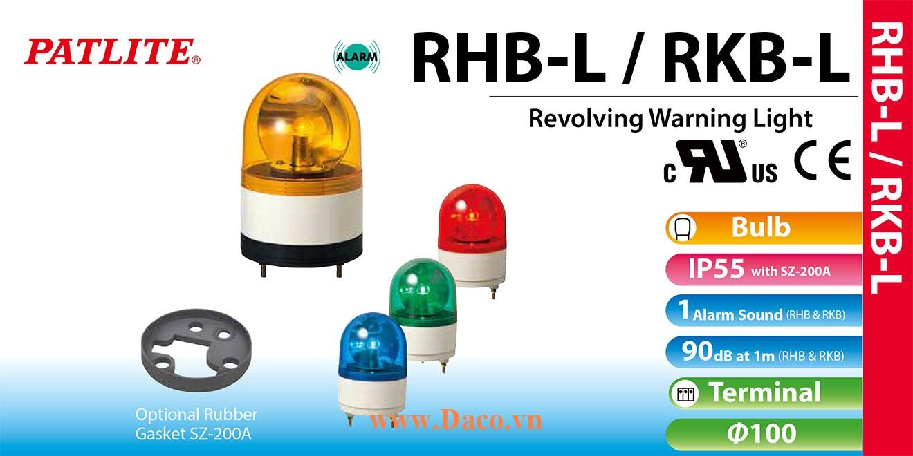 RHB-48L-B Đèn xoay có còi Patlite Φ100 Bóng Sợi đốt Buzzer 90dB IP23