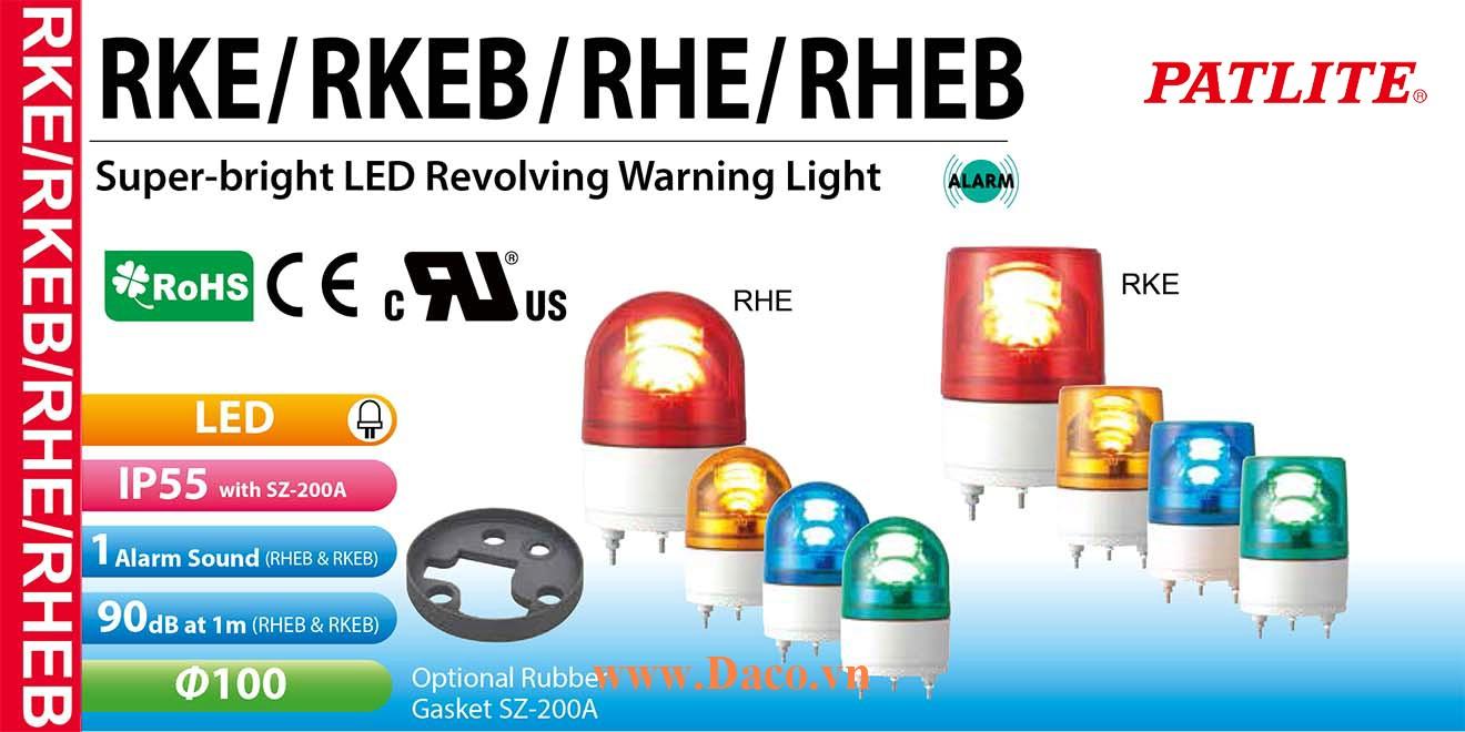 RHEB-24-B Đèn báo quay Patlite Φ100 Bóng LED Còi Buzzer 90dB IP23