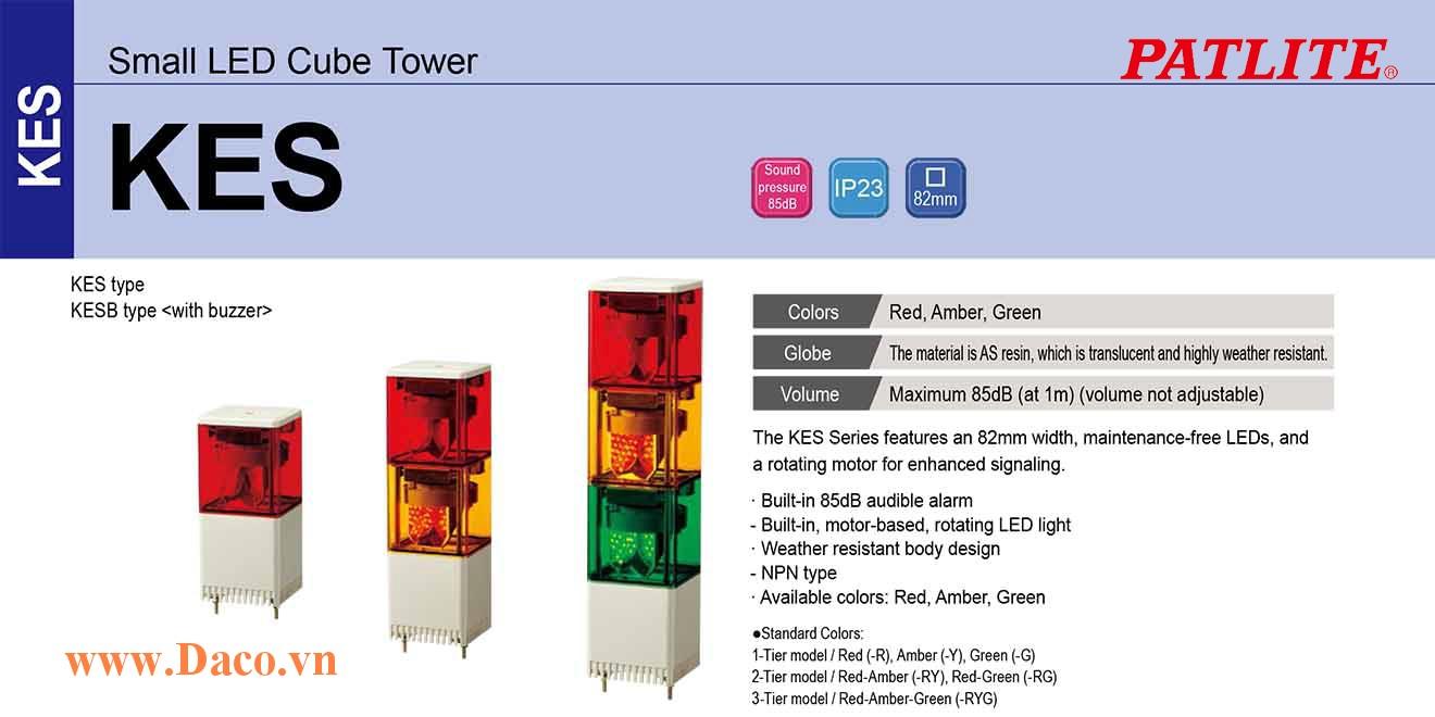 KES-320-RYG Đèn quay cảnh báo tháp Patlite Vuông 82 Bóng LED 3 tầng IP23