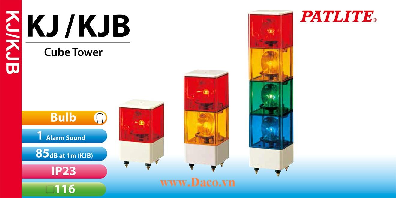 KJB-320-YGB Đèn báo hiệu Patlite 3 tầng Vuông 116 Bóng Sợi đốt Quay Còi Buzzer 85dB IP23
