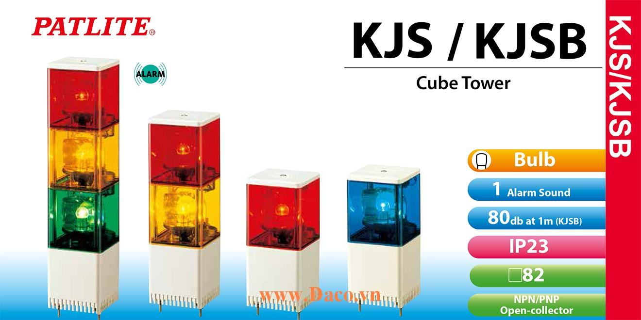 KJSB-320-RGB Đèn tháp vuông Patlite 3 tầng Vuông 82 Bóng Sợi đốt Quay Còi Buzzer 85dB IP23