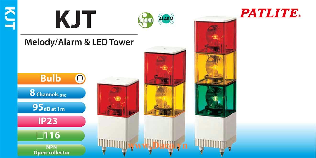 KJT-320E-RYG Đèn tháp Vuông có loa Patlite 3 tầng Vuông 116 Bóng Sợi đốt Quay 32 kênh âm loại A 90dB IP23