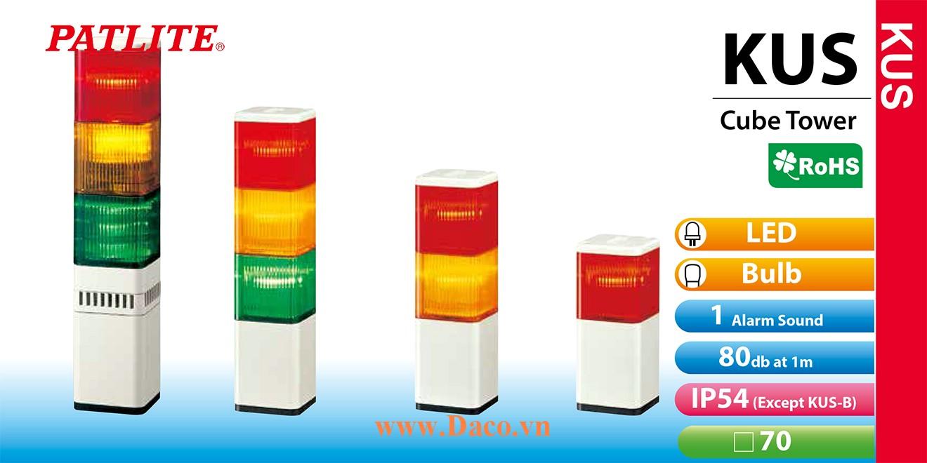 KUS-S-Y Module tầng màu đèn tháp Vuông Patlite Φ70 Sợi đốt IP54