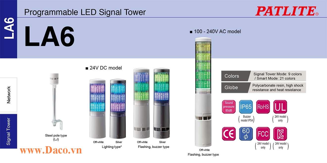LA6-3DTNWB-RYG Đèn tháp đa màu báo hiệu Patlite Φ60 Bóng LED 3 tầng  11 âm báo 85dB IP54