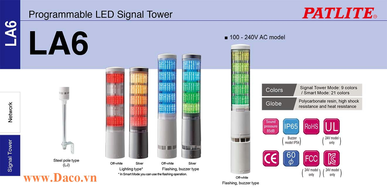 LA6-5DTNWB-RYGBC Đèn tháp đa màu báo hiệu Patlite Φ60 Bóng LED 5 tầng  11 âm báo 85dB IP54