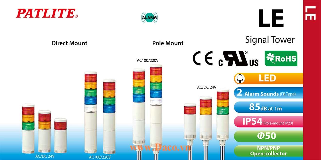 LE-520L-RYGBC Đèn cảnh báo tháp Patlite Φ50 Bóng LED 5 tầng IP54