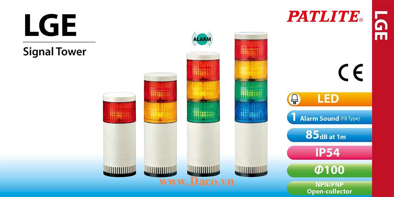 LGE-520-RYGBC Đèn cảnh báo tháp Patlite Φ100 Bóng LED 5 tầng IP54