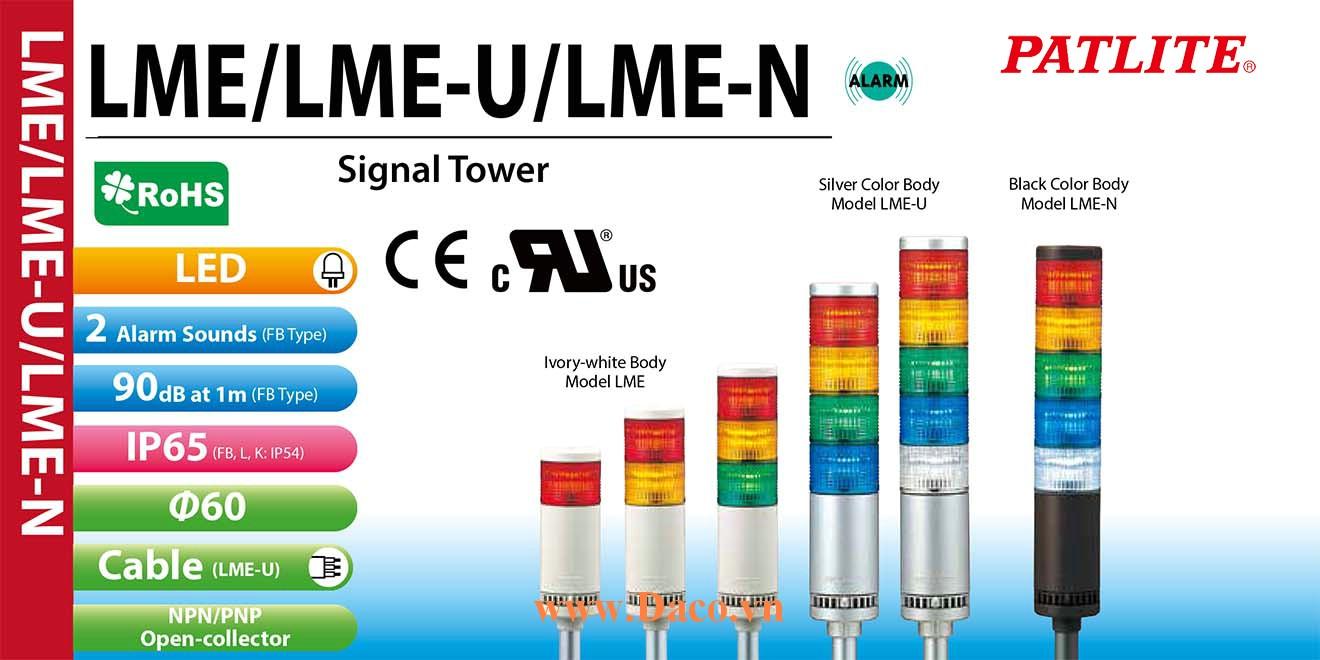 LME-520L-RYGBC Đèn cảnh báo tháp Patlite Φ60 Bóng LED 5 tầng IP54