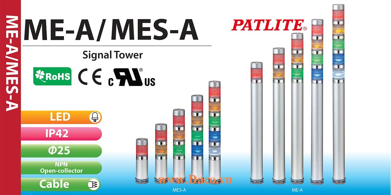 MES-502A-RYGBC Đèn báo hiệu tháp Patlite Φ25 Bóng LED 5 tầng IP65