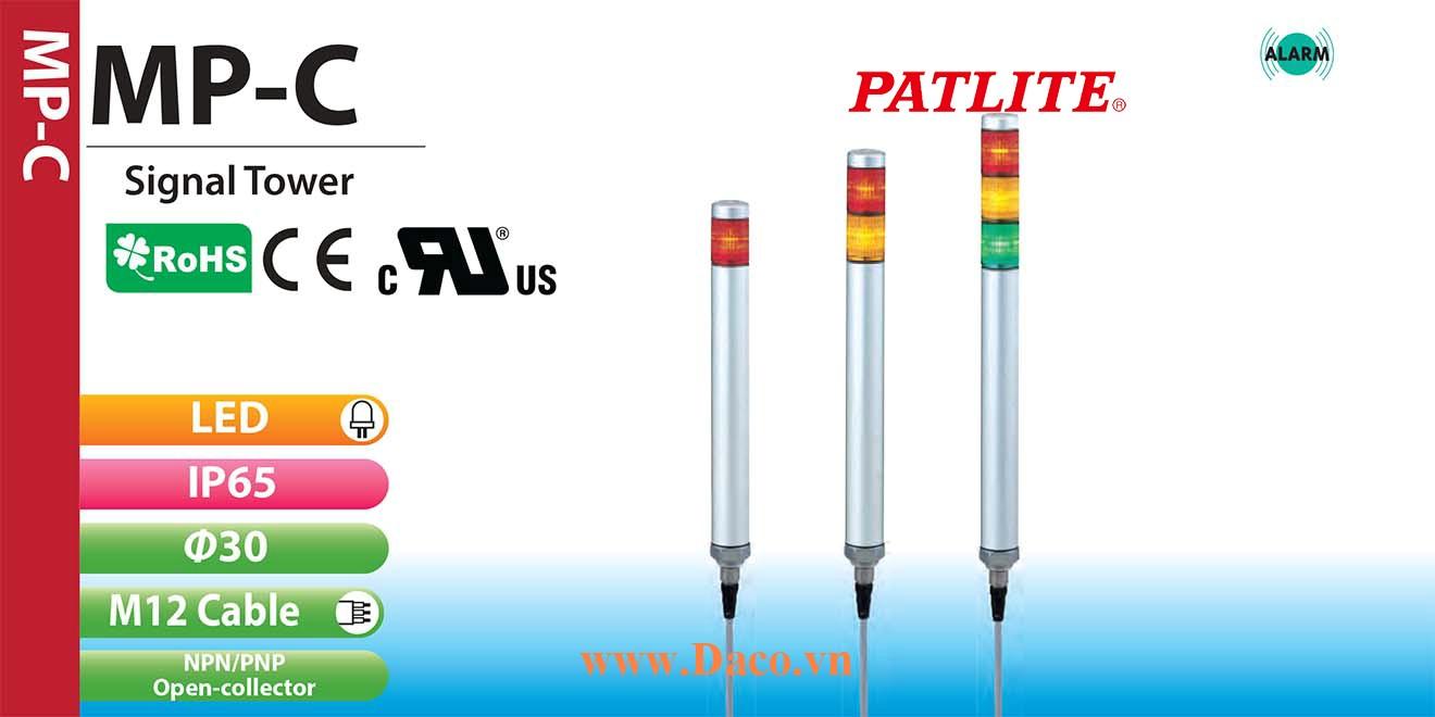 MP-302C-RYB Đèn báo hiệu tháp Patlite Φ30 Bóng LED 3 tầng IP65