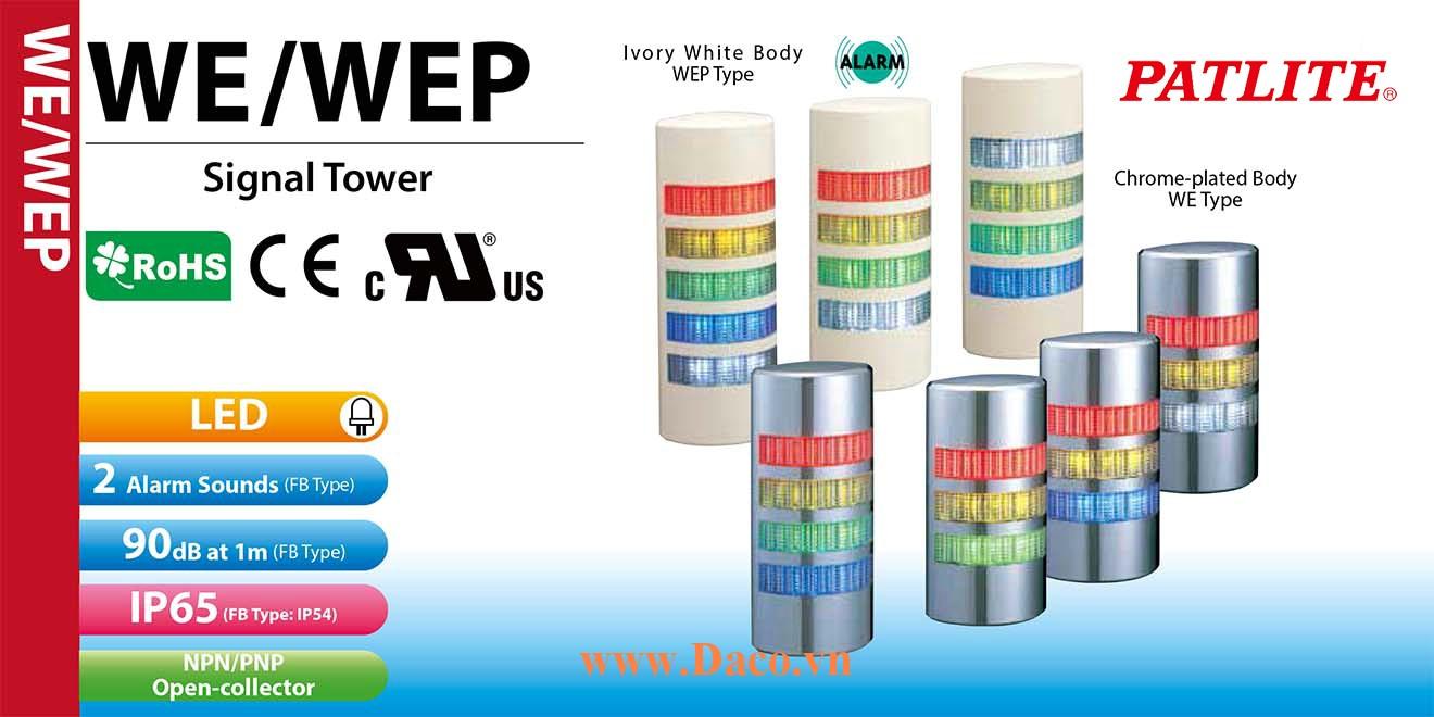 WE-502FB-RYGBC Đèn tháp bán nguyệt gắn tường Patlite Φ90 Bóng LED 5 tầng Còi 2 âm Buzzer 90dB IP54