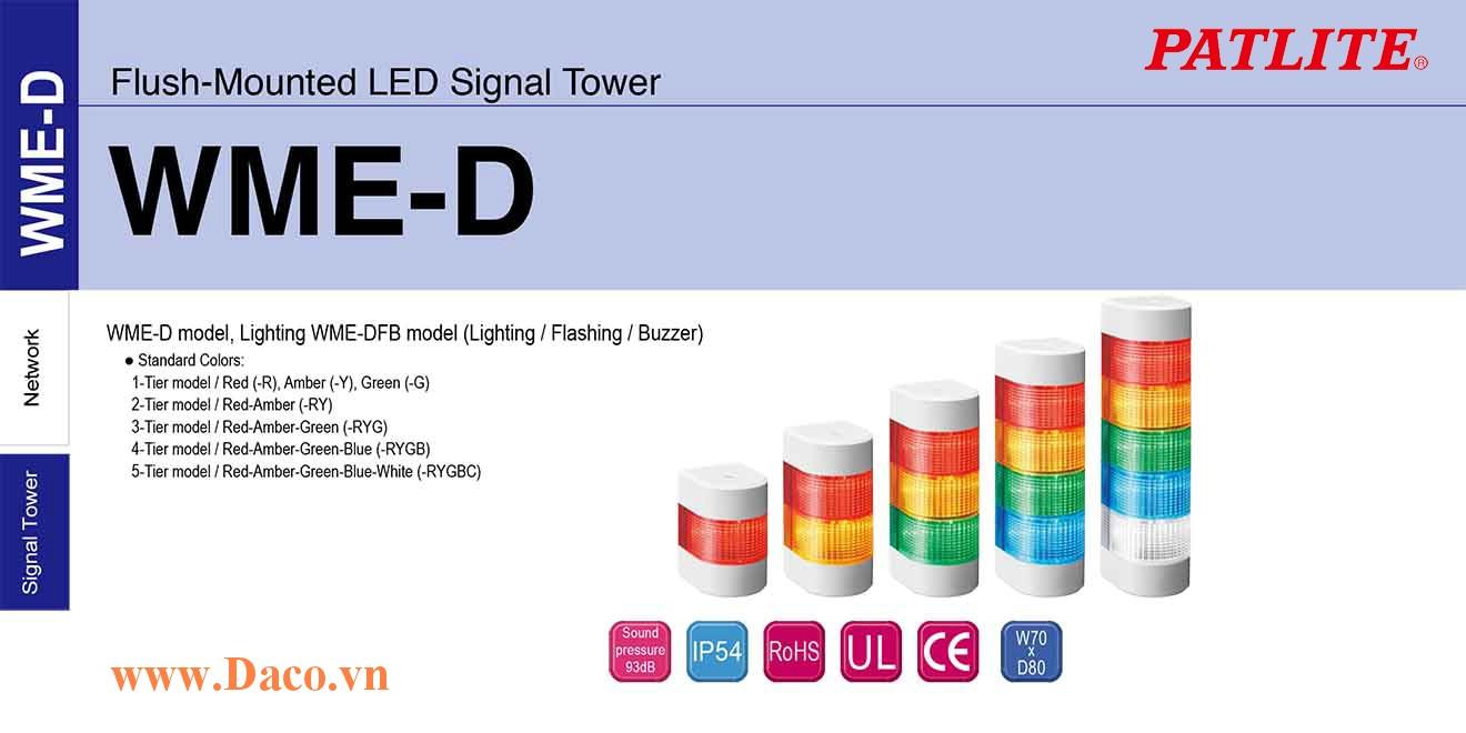 WME-5M2DFB-RYGBC Đèn tháp gắn tường Patlite W70xD80 Bóng LED 5 tầng Còi 2 âm Buzzer 93dB IP54