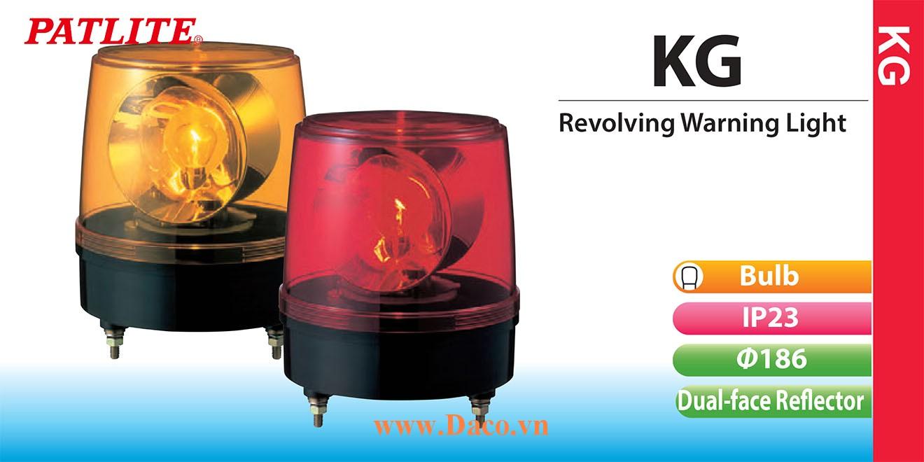 KG-200-Y Đèn quay báo hiệu Patlite phản xạ kép Φ186 Bóng Sợi đốt IP23
