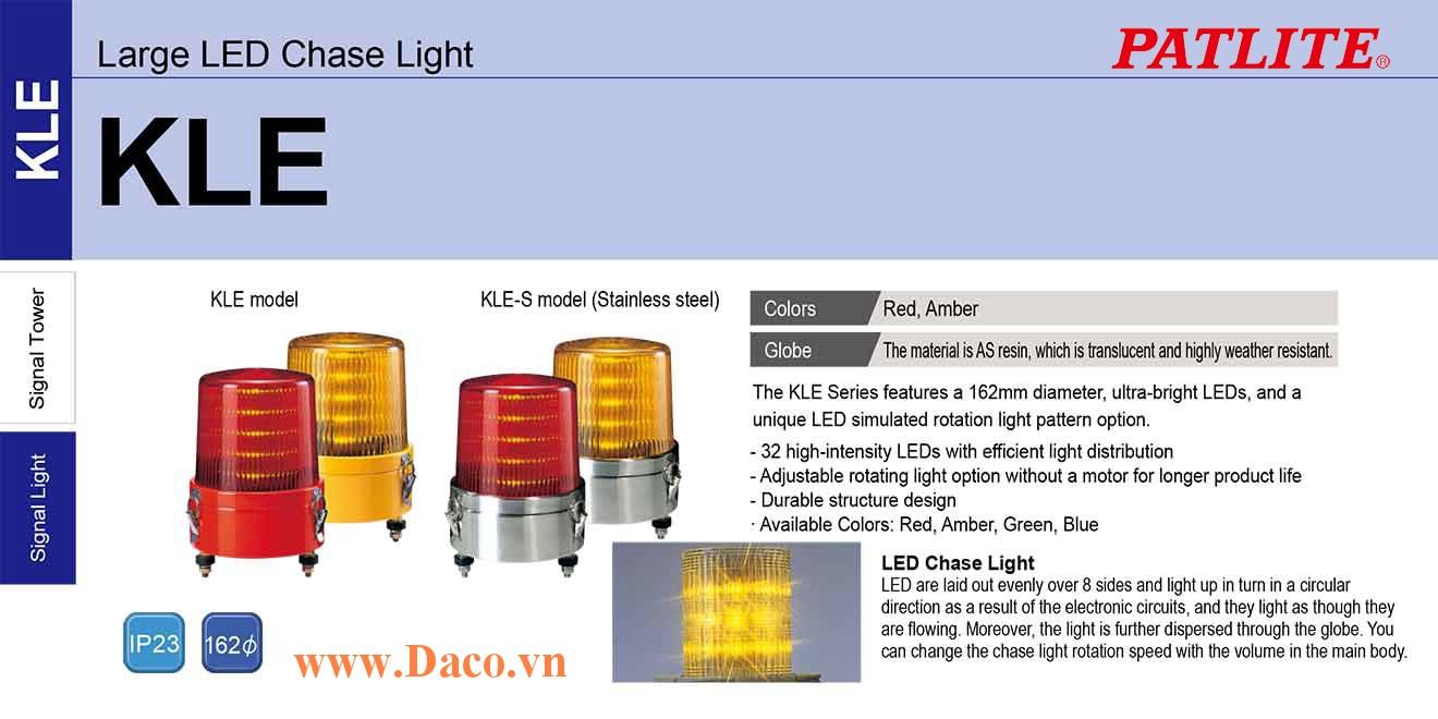 KLE-200-R Đèn báo hiệu Quay giả lập-Sáng nhâp nháy Patlite Φ162 Bóng LED IP23