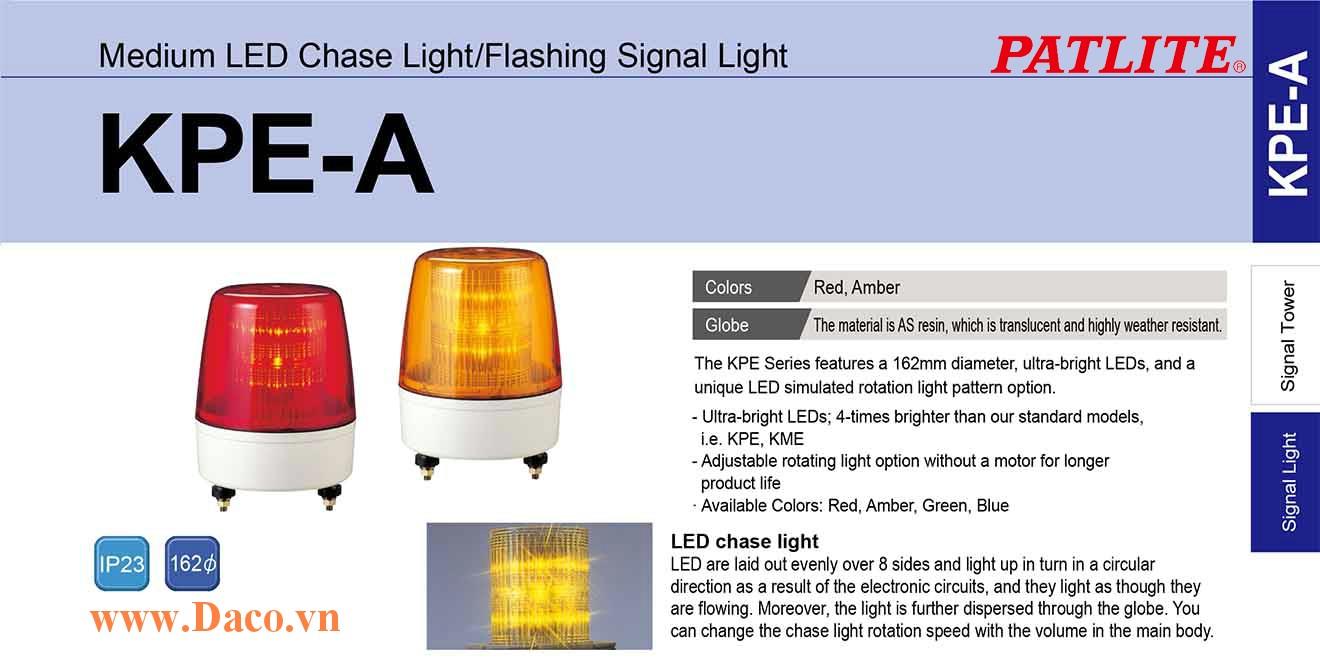 KPE-220A-Y Đèn báo hiệu Patlite Φ162 Bóng LED IP23