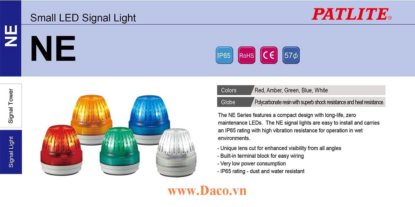 NE-24-R Đèn báo hiệu Patlite Φ57 Bóng LED Sáng liên tục IP65