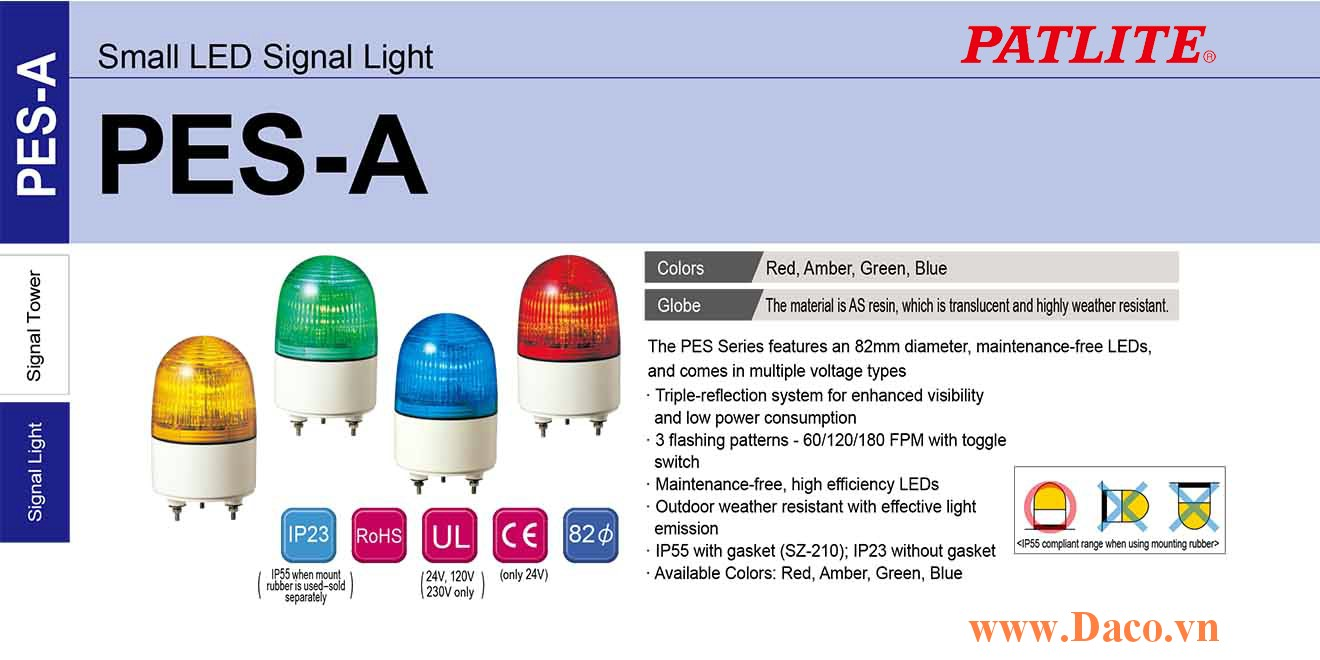 PES-230A-Y Đèn nhấp nháy báo hiệu Patlite Φ82 Bóng LED IP23