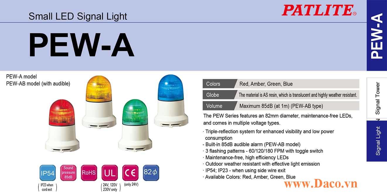 PEW-230AB-B Đèn báo nhấp nháy Patlite Φ82 Bóng LED IP23 Còi Buzzer 85dB