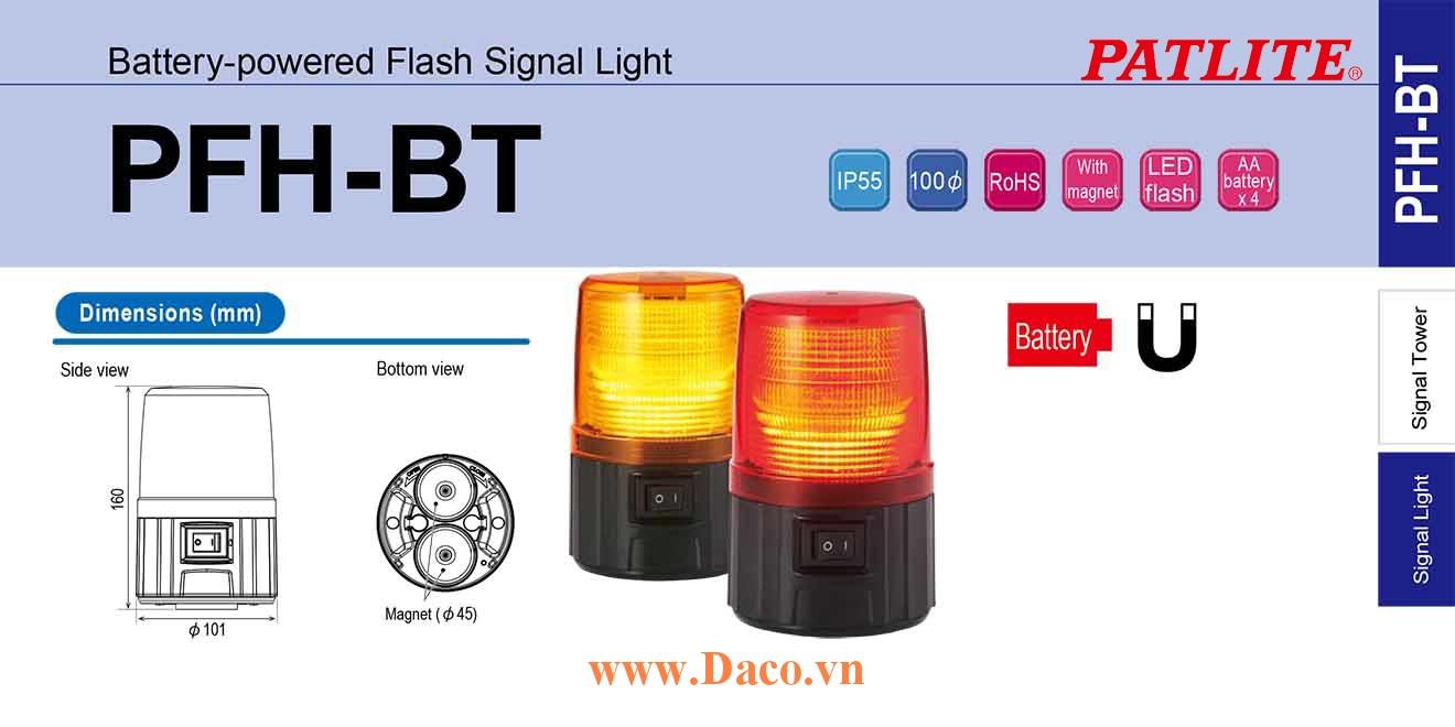 PFH-BT-Y Đèn báo hiệu chạy Pin AA Patlite Nam châm hút dính Φ100 Bóng LED IP55