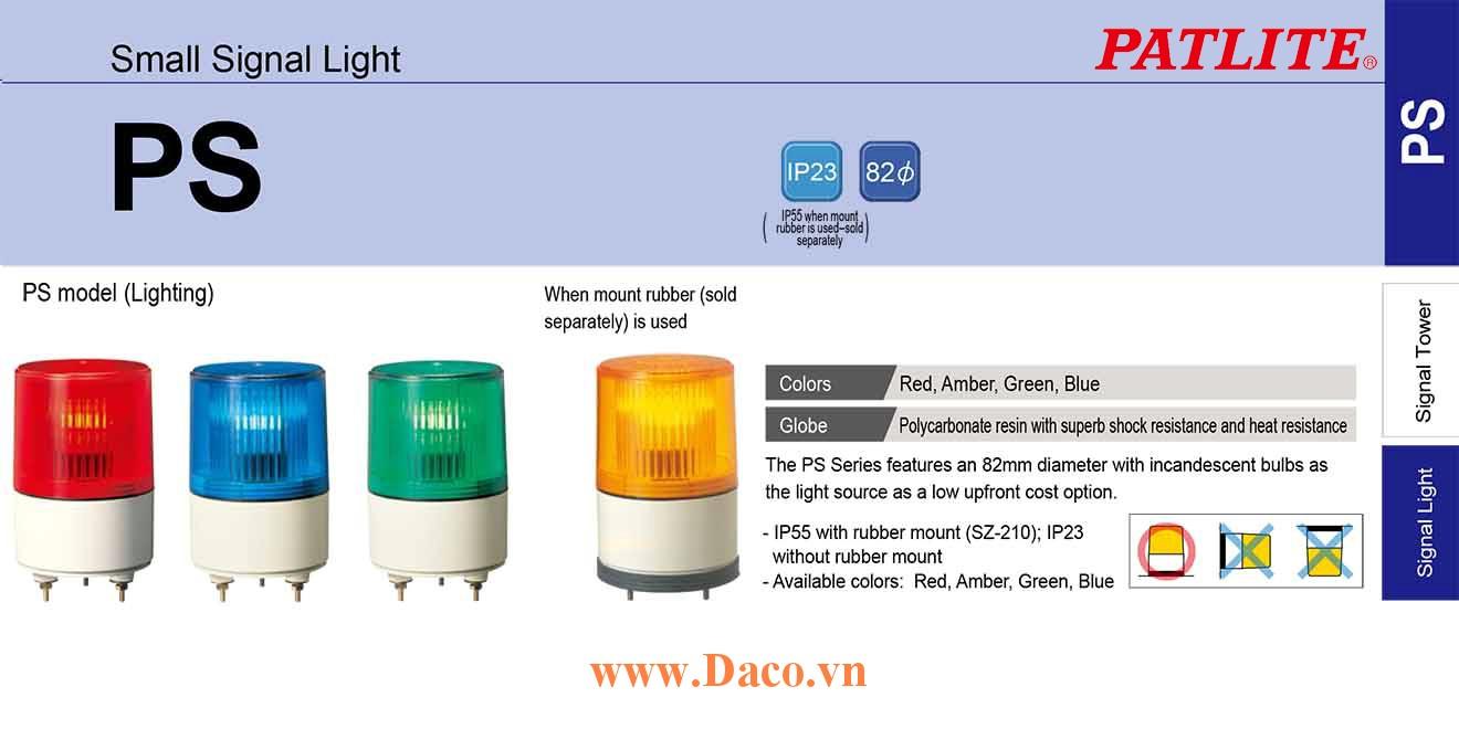 PS-24-Y Đèn nhấp nháy báo hiệu Patlite Φ82 Bóng Sợi đốt IP23