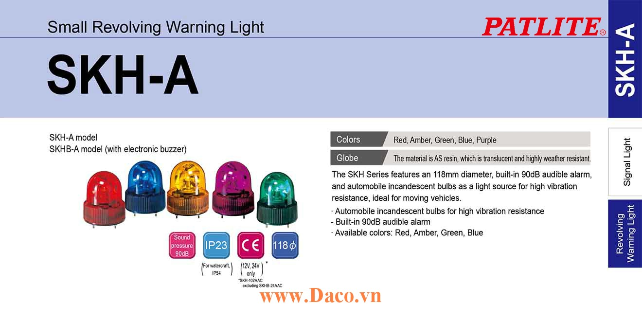 SKHB-102AAC-R Đèn quay báo hiệu Patlite Φ118 Bóng Sợi đốt IP23 Buzzer 90dB