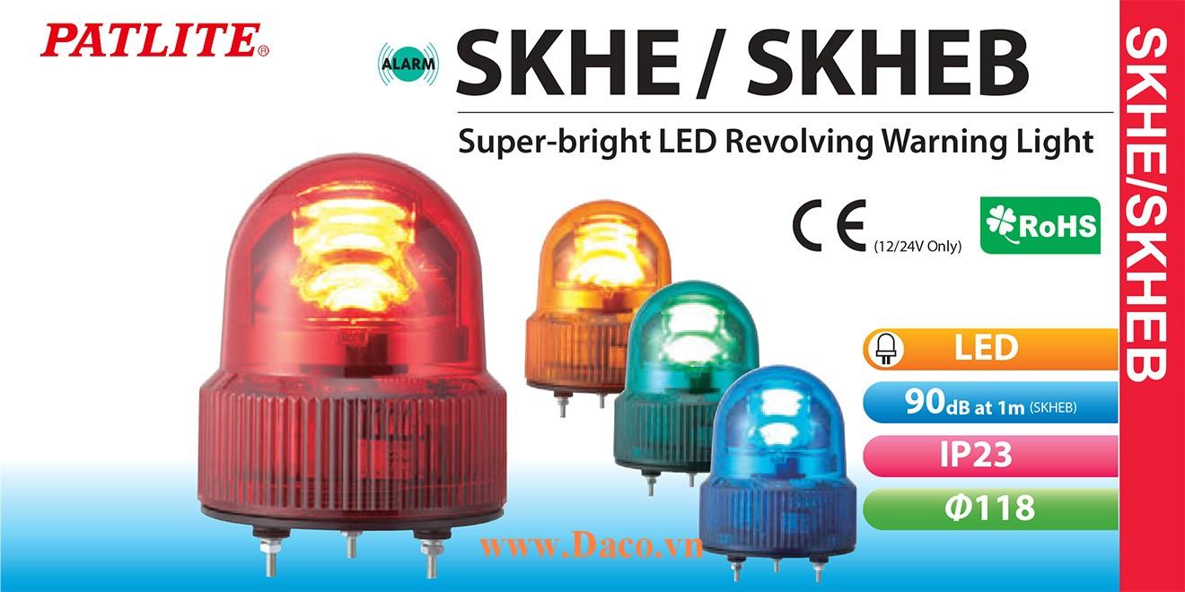 SKHEB-200-G Đèn quay báo hiệu Patlite Φ118 Bóng LED IP23 Buzzer 90dB