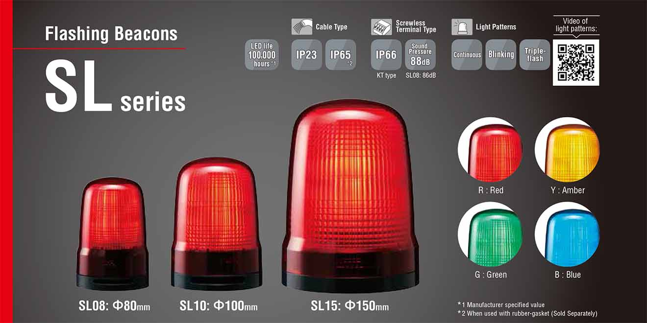 SL08-M2KTB-R Đèn nhấp nháy báo hiệu Patlite Φ80 Bóng LED IP23