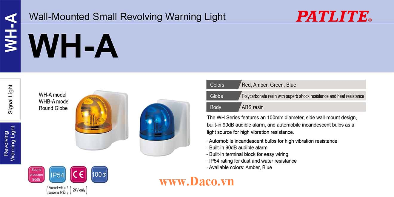 WHB-200A-R Đèn quay báo hiệu gắn tường Patlite Φ100 Bóng Sợi đốt IP23 Buzzer 90dB