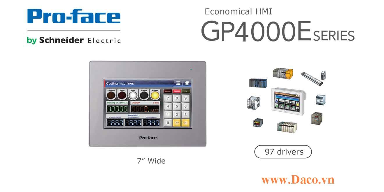 PFXGP4402WADW Màn hình cảm ứng HMI Proface GP4000E 7 Inch Màu RS232, RS422, RS485, LAN, USB
