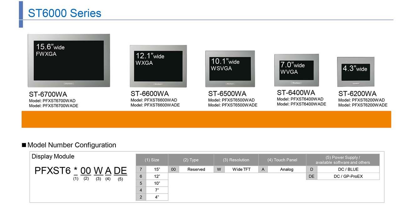 ST6000-GP-ProEX Màn hình cảm ứng HMI Proface 4.3-15.6 Inch Màu ST6000-GP-ProEX