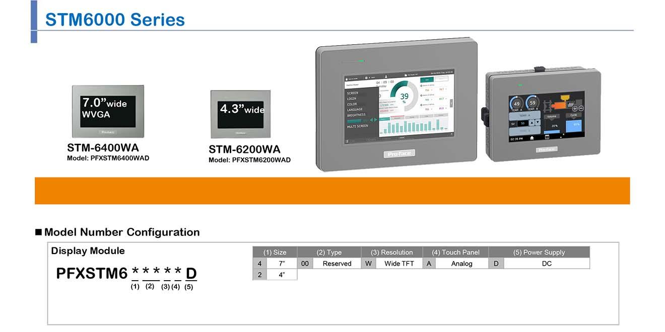 """STM6000-BLUE Màn hình cảm ứng HMI dạng Module Proface 4.3-7.0"""" wide Màu  STM6000-BLUE"""
