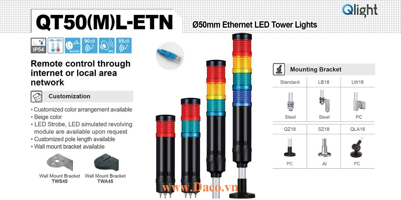 QT50L-ETN-WA-5-220-RAGBW-SZ18 Đèn tháp cảnh báo Qlight Φ50 Bóng LED 5 tầng Còi 5 âm báo 85dB IP54