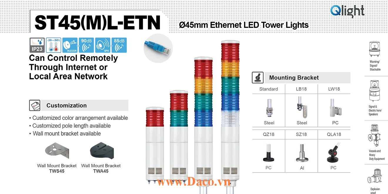 ST45ML-ETN-WM-5-24-RAGBW Đèn tầng Ethernet Qlight Φ45 Bóng LED 5 tầng Còi 5 âm báo 85dB IP23