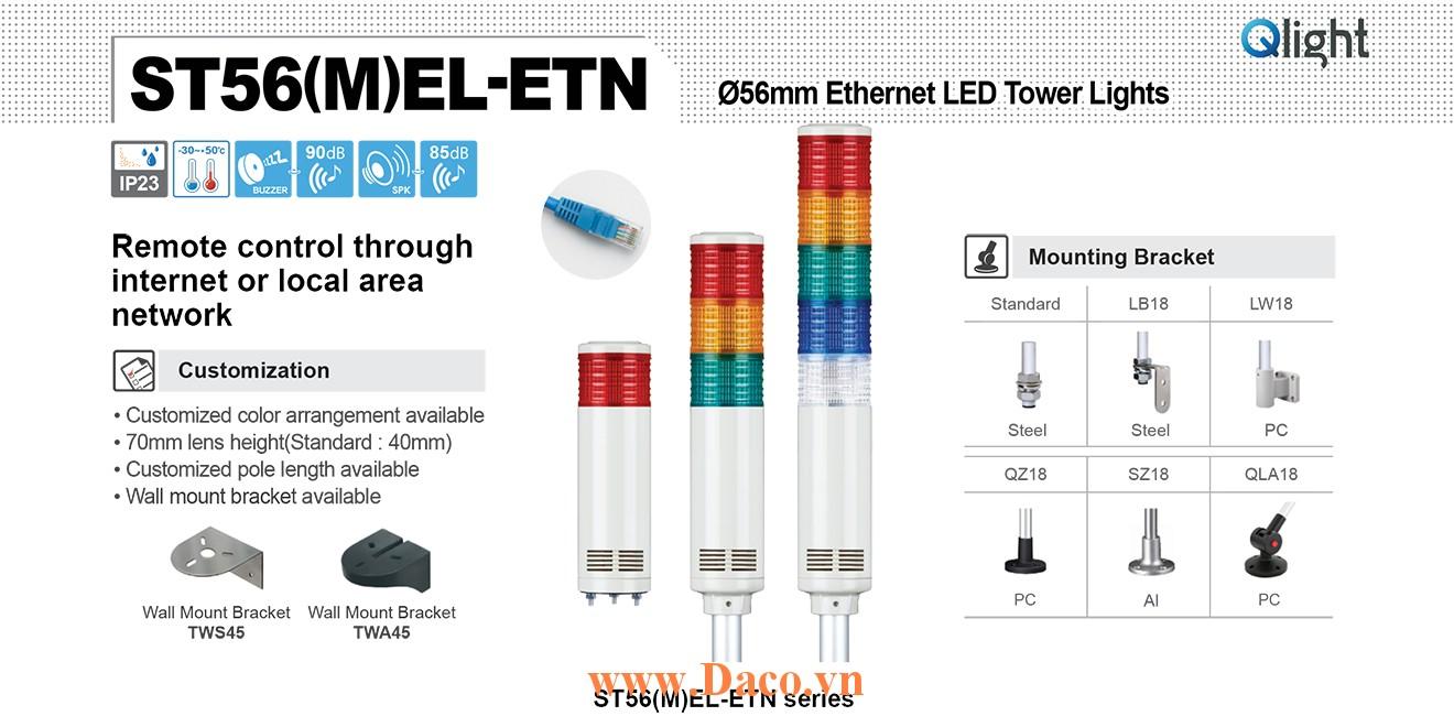 ST56MEL-ETN-WA-5-220-RAGBW Đèn tháp cảnh báo Qlight Φ56 Bóng LED 5 tầng Còi 5 âm báo 85dB IP44
