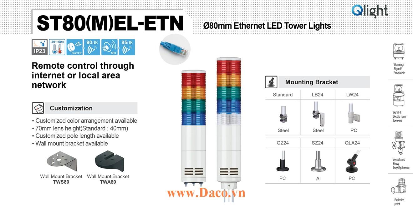 ST80MEL-ETN-WM-5-220-RAGBW Đèn tháp cảnh báo Qlight Φ80 Bóng LED 5 tầng Còi 5 âm báo 85dB IP44