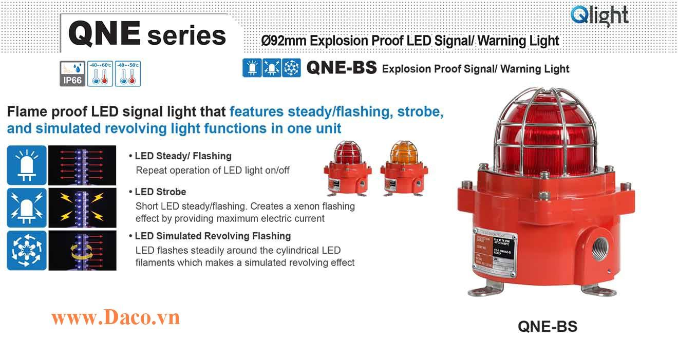 QNE-BR-120/230-R Đèn phòng nổ quay cảnh báo Qlight Φ92 Bóng LED IP66-IECEx-ATEX-KCs, 110~240VAC