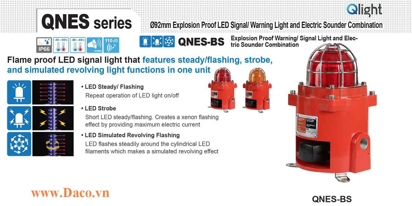 QNES-BR-WS-12/24-R Đèn cảnh báo phòng nổ Qlight đa chức năng Φ92 Bóng LED 5 âm báo động IP66-IECEx-ATEX-KCs 12~24VDC