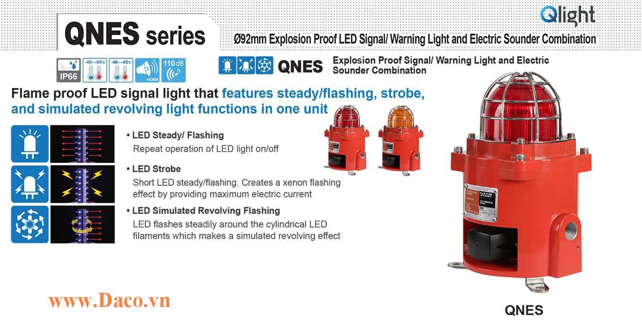 QNES-BR-WS-120/230-R Đèn phòng nổ quay cảnh báo Qlight Φ92 Bóng LED  IP66-IECEx-ATEX-KCs 110~240VAC