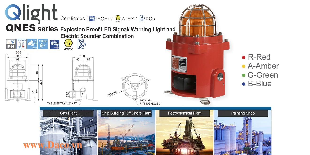 QNES-BS-WS-12/24-R Đèn cảnh báo phòng nổ Qlight đa chức năng Φ92 Bóng LED 5 âm báo động IP66-IECEx-ATEX-KCs 12~24VDC