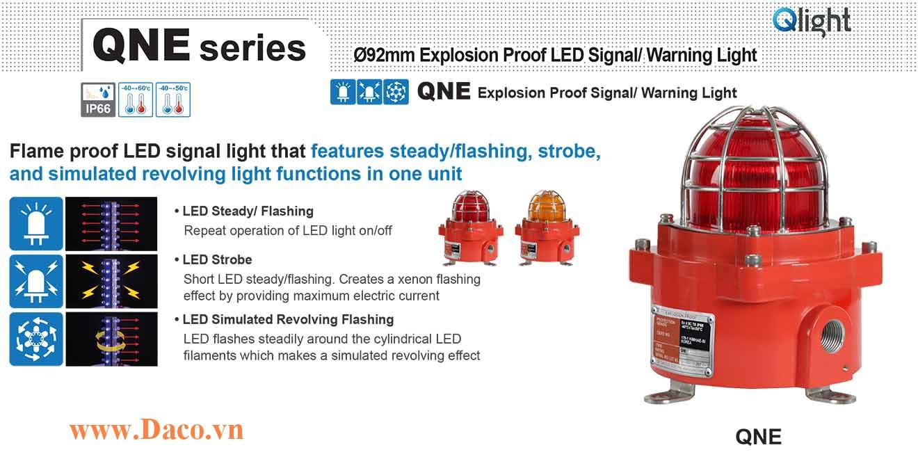 QNE-120/230-R Đèn phòng nổ quay cảnh báo Qlight Φ92 Bóng LED IP66-IECEx-ATEX-KCs, 110~240VAC