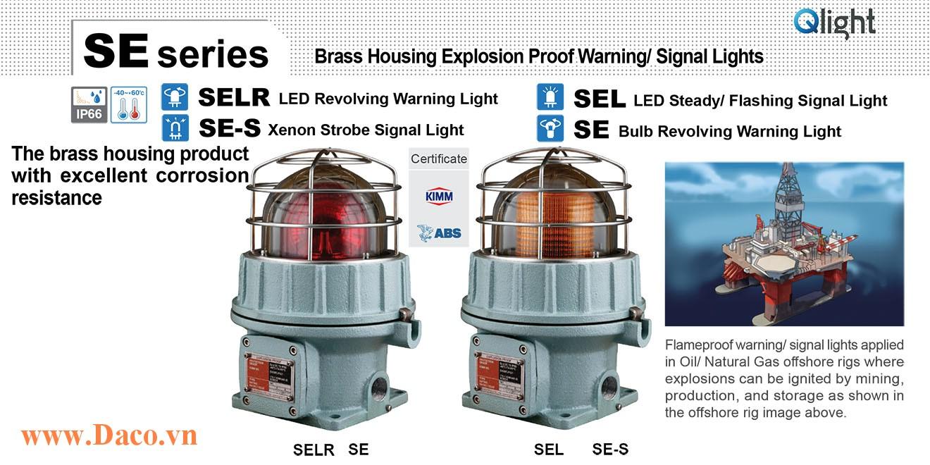 SE-S-220-A Đèn phòng nổ báo hiệu Qlight Φ155 Bóng Xenon Nhấp nháy IP66-KIM-ABS