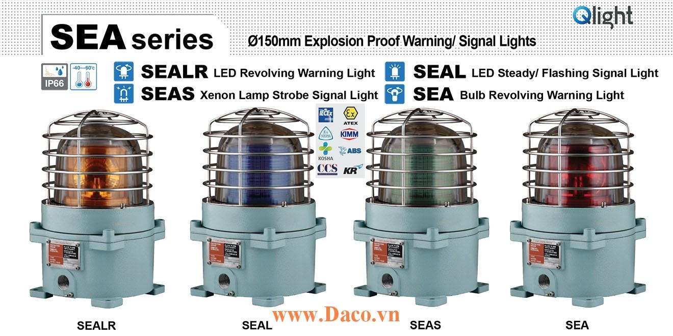 SEA-220-A Đèn quay tín hiệu phòng nổ Qlight Φ167 Bóng Sợi đốt Quay IP66-IECEx-ATEX-NEPSI, 220VAC