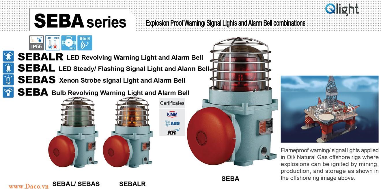 SEBA-220-R Đèn phòng nổ quay có chuông Qlight Φ167 Bóng Sợi đốt Chuông báo 95dB IP55-KIM-ABS-KR